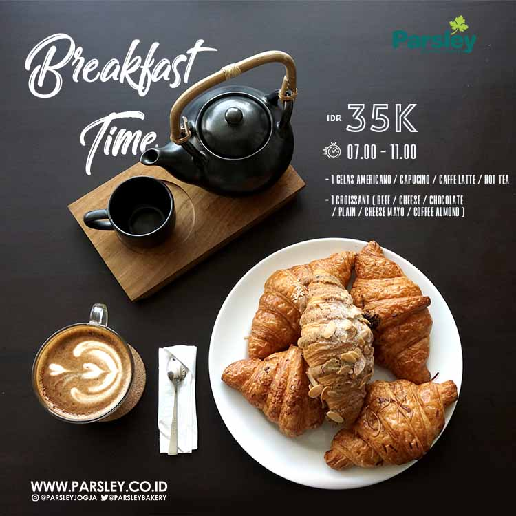 Breakfast Time at Parsley Bakery Laksda Adisucipto Yogyakarta