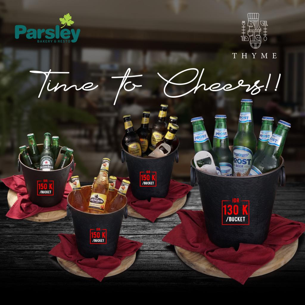 Time to Cheers at Parsley Resto Jalan Kaliurang, Parsley Resto Jalan Seturan, Thyme Beefbar Eatery