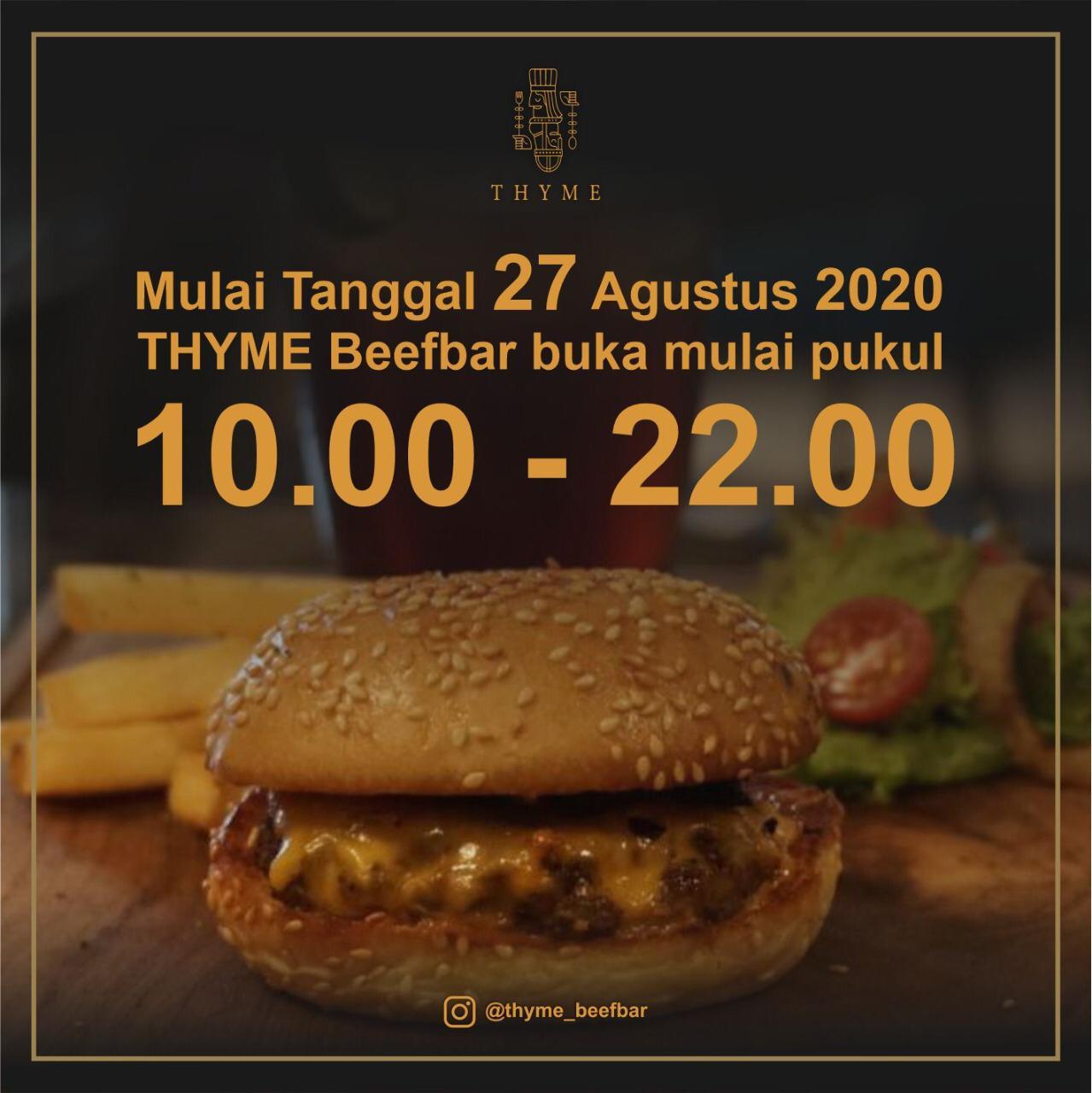Perubahan Jam Operasional Thyme BeefBar