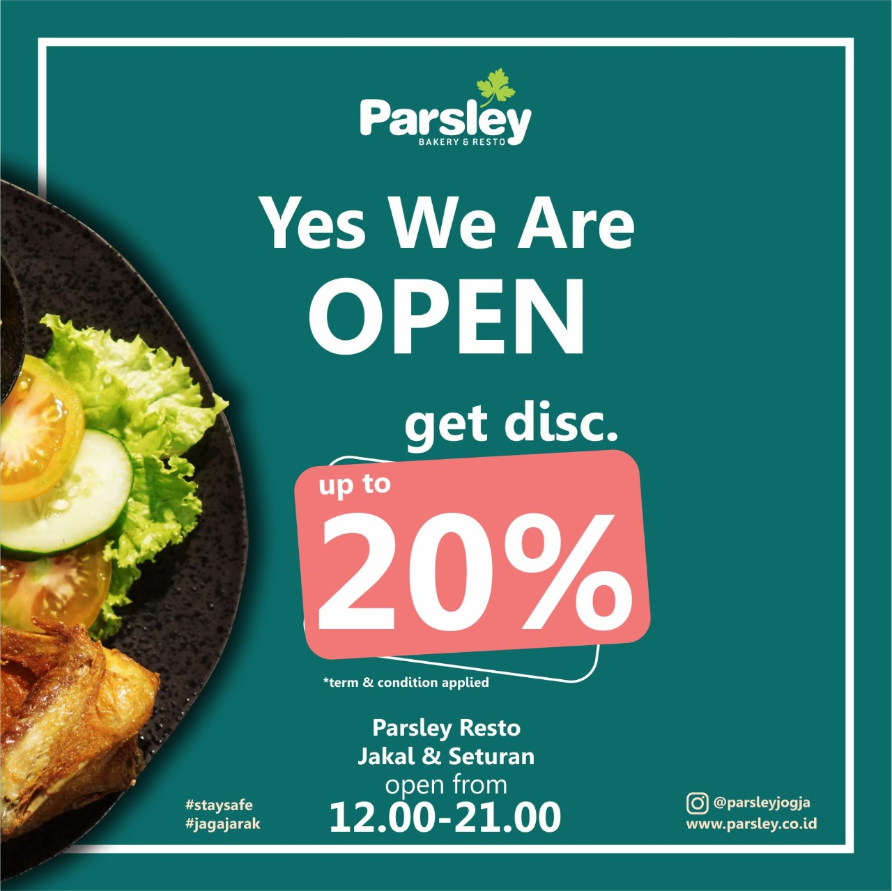 Special Discount 20% at Parsley Resto Jakal & Seturan