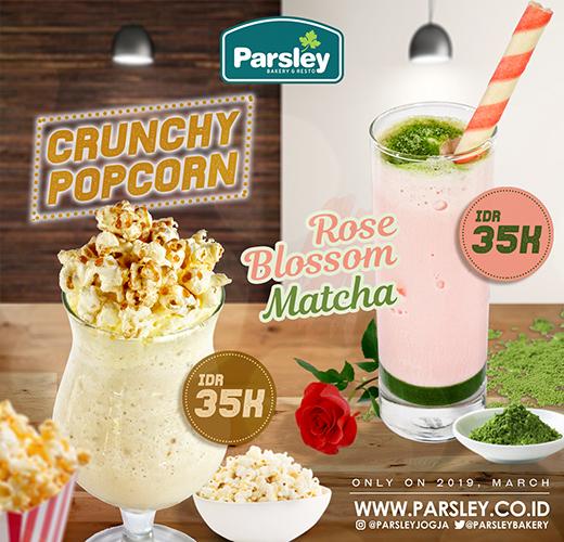 Crunchy Popcorn & Rose Blossom Matcha