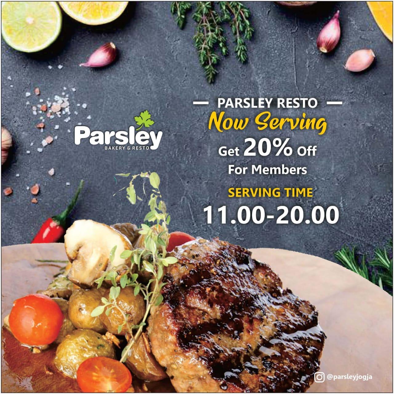 Get 20% off for Members at Parsley Resto Jakal & Seturan